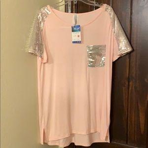 NWT pink sequin short sleeve sz M